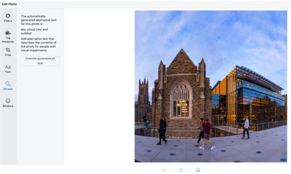 Screencapture of alt text option on Facebook images