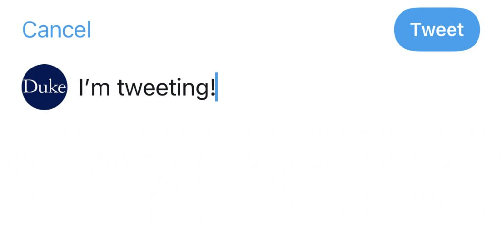Screenshot of composing a tweet