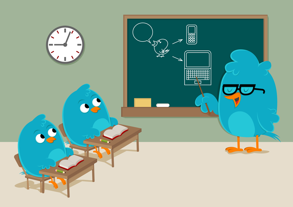 Bird teaches other birds how to use Twitter