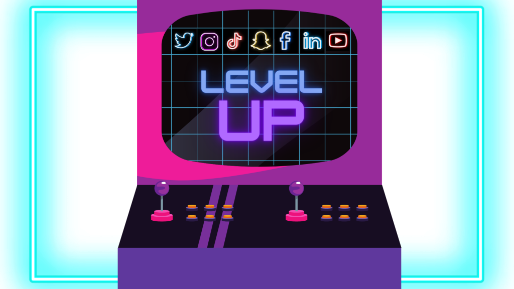 """Computer with """"level up"""" written on the screen"""